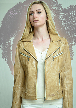 Higgs Leathers SOLD!  Zoya (ladies Beige Leather Biker jackets)